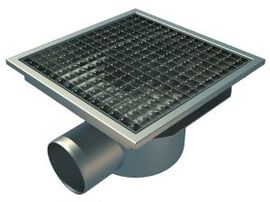 Side 110mm Outlet, 300x300mm Square Top Gully for Concrete, L15 Grate