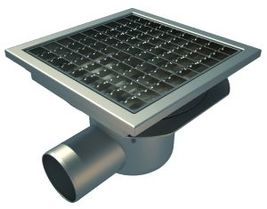 Side 75mm Outlet, 200x200mm Square Top Gully for Concrete, L15 Grate