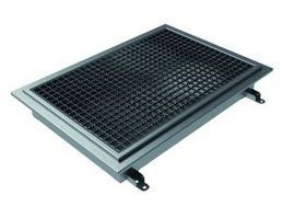 400x400, L15 Grate, Kitchen Channel for Tiles with Gluing Flange, Central Outlet