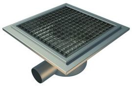 Side 75mm Outlet, 300x300mm Square Top Gully for Tiles with Gluing Flange, L15 Grate