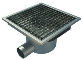 Side 75mm Outlet, 300x300mm Square Top Gully for Concrete, L15 Grate