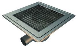 Side 75mm Outlet, 300x300mm Square Top Gully for Vinyl, L15 Grate
