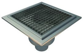 Bottom 110mm Outlet, 300x300mm Square Top Gully for Tiles with Gluing Flange, L15 Grate
