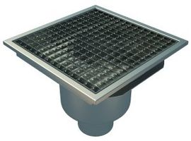 Bottom 110mm Outlet, 300x300mm Square Top Gully for Concrete, L15 Grate