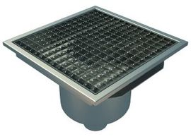 Bottom 75mm Outlet, 300x300mm Square Top Gully for Concrete, L15 Grate