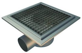 Side 110mm Outlet, 300x300mm Square Top Gully for Tiles with Gluing Flange, L15 Grate