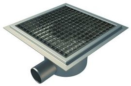 Side 75mm Outlet, 200x200mm Square Top Gully for Resin, L15 Grate